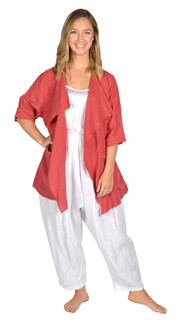 Catherine Lillywhite's-Red Drape Collar Linen Jacket