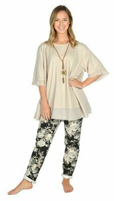 Catherine Lily White-BLACK & TAUPE FLORAL JEAN