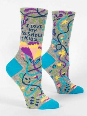 Blue Q Crew Socks- I Love My Asshole Kids