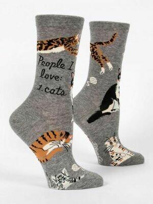 Blue Q Crew Socks - People I Love: Cats