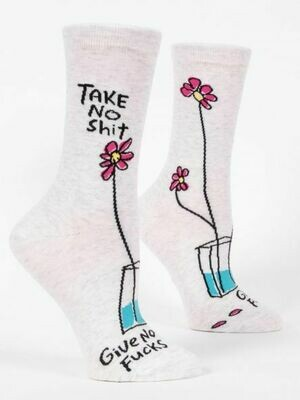 Blue Q Crew Socks - Take No Shit, Give No Fucks