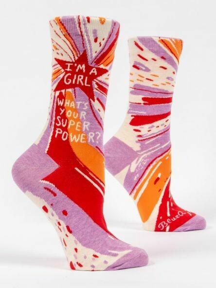 Blue Q Crew Socks- superpower