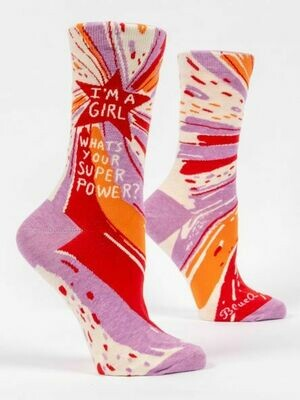 Blue Q Crew Socks - I'm a Girl. What's Your Superpower