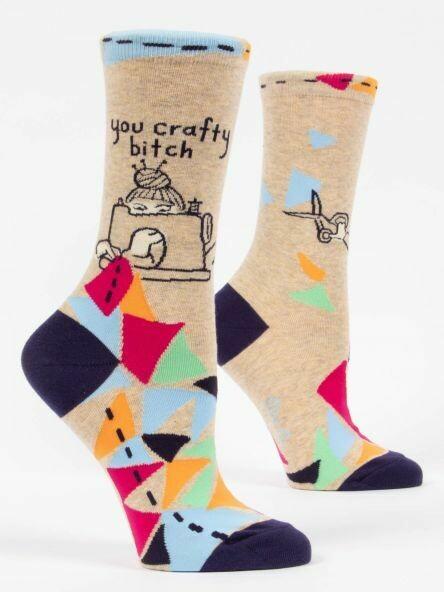 Blue Q Crew Socks - You Crafty Bitch