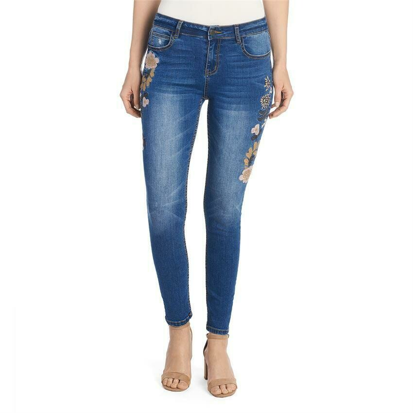 Coco & Carmen-Embroidered Leg Jean - L/XL