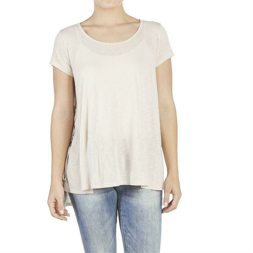 Coco & Carmen-Lace Up Side Tee-Rugby Tan - L/XL