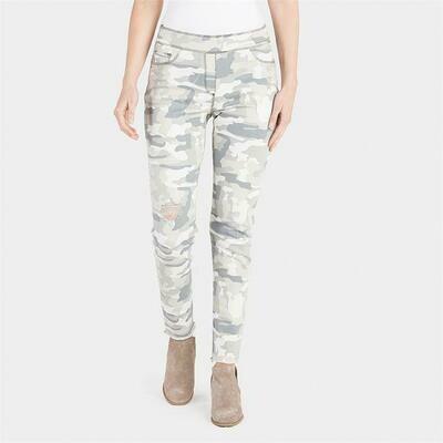 Coco & Carmen-OMG Distressed Printed Jeans-Grey Camo - L/XL