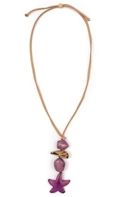 Tagua-Estrellita Necklace-Purple