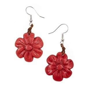 Tagua-Flor Earrings-Poppy Coral