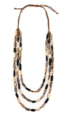 Tagua-Glenda Necklace-Black Color Combo