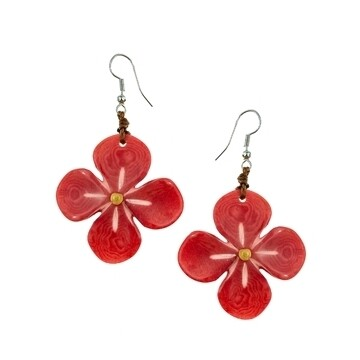 Tagua-Hibiscus Earrings-Poppy Coral