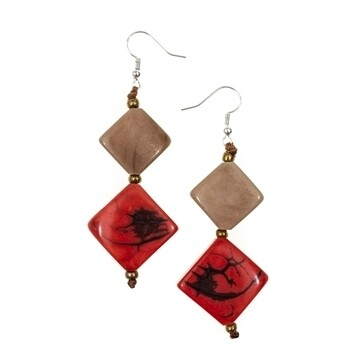 Tagua-Mayra Earrings-Café Leche Poppy Coral