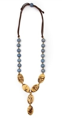 Tagua-Perla Necklace-Biscayne Bay Lake Blue Ivory