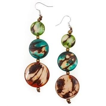 Tagua-Sabrina Earrings-Orange Turquoise Lime