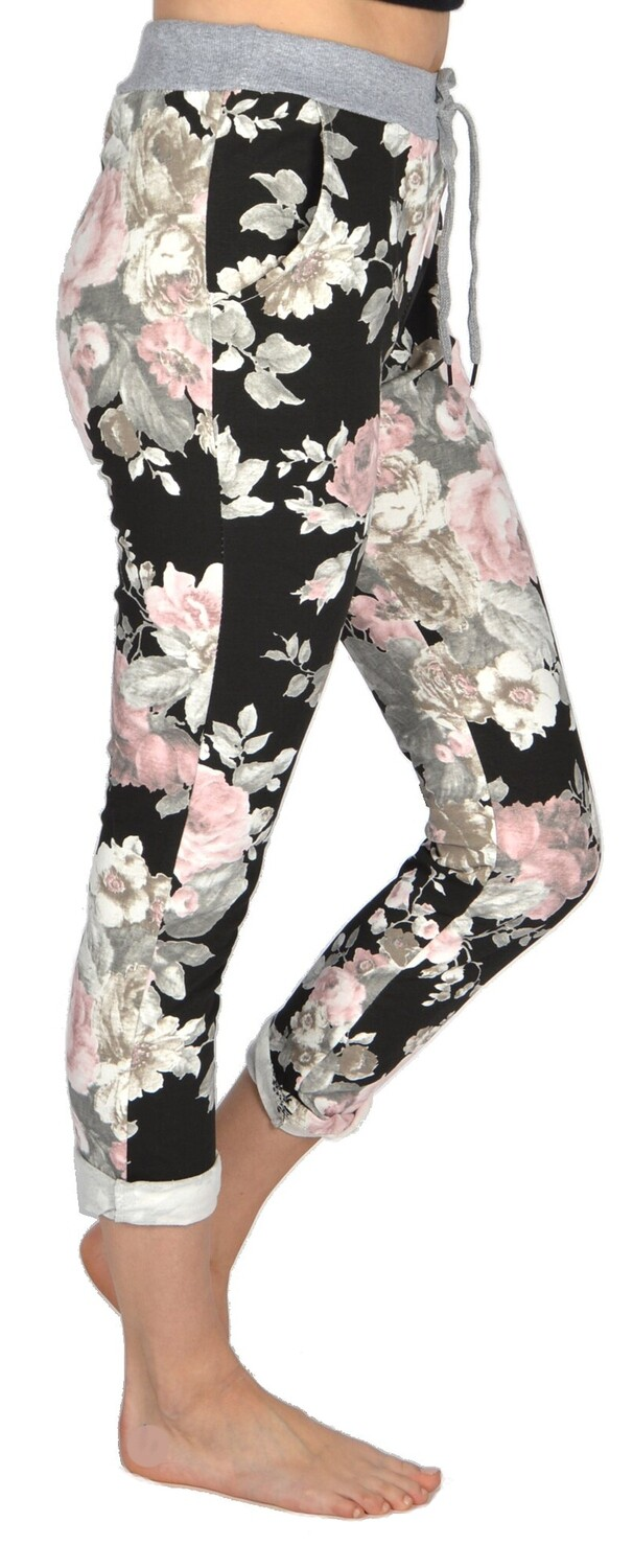 Catherine Lillywhite's-Black & Pink Floral Jeans
