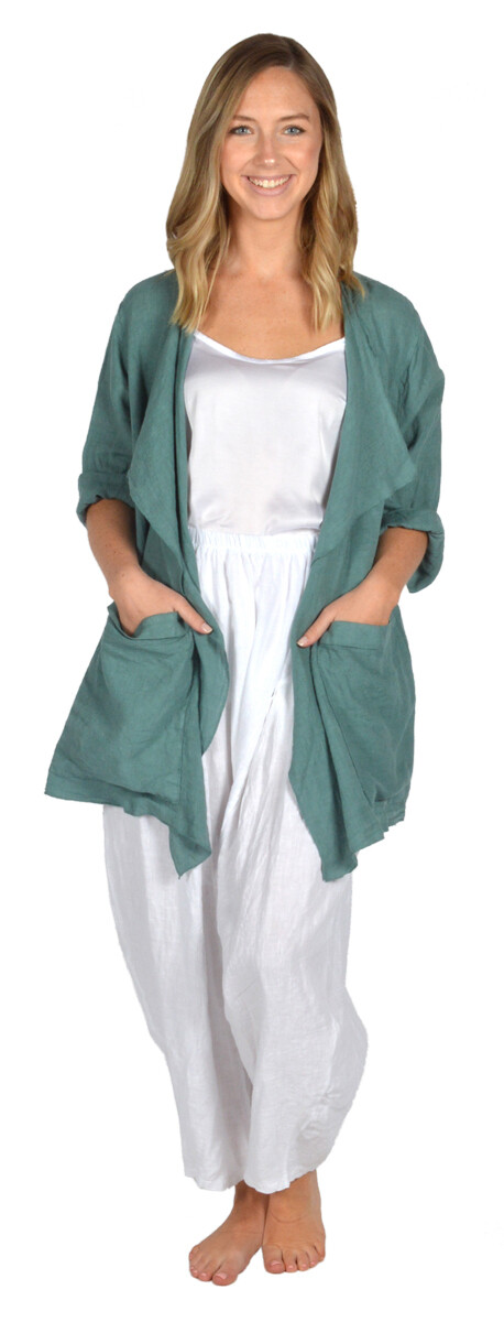 Catherine Lillywhite's-Green Drape Collar Linen Jacket