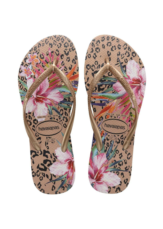 Havaianas - Slim Animal Floral Flip Flops (Size 7/8) - Crocus Rose