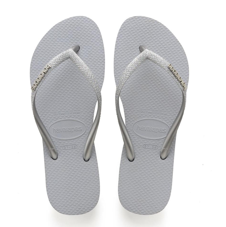 Havaianas Slim Glitter Flip Flops (Size 9/10) - Steel Grey