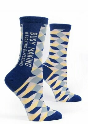 Blue Q Crew Socks - Busy Making A Fucking Difference