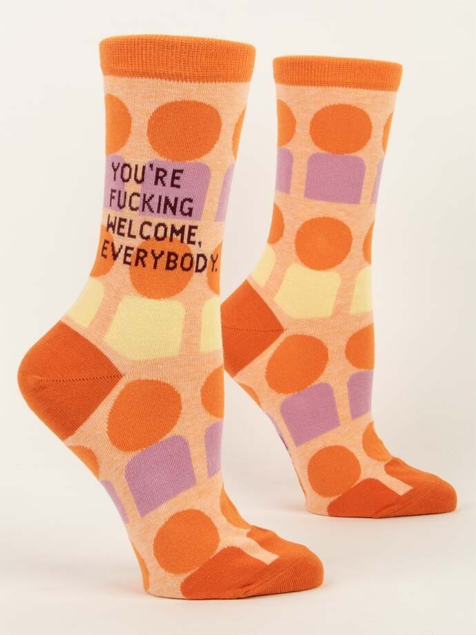 Blue Q Crew Socks - You're Fucking Welcome Everybody