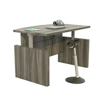 Safco Aberdeen® Height-Adjustable Desk, Bow Front with Base, 72