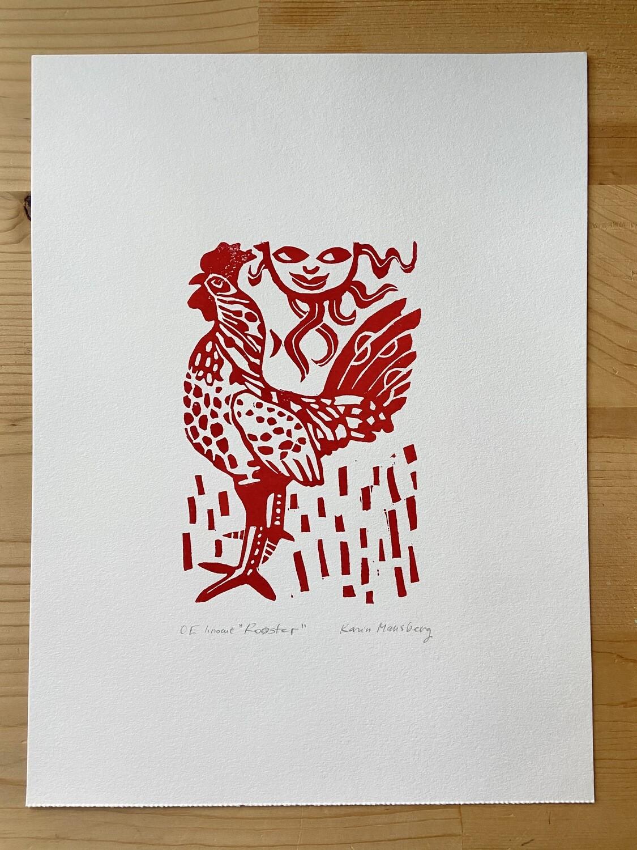 Linocut Rooster