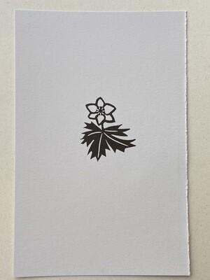 Wood anemone original relief print