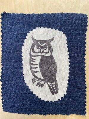 Great horned owl fabric patch
