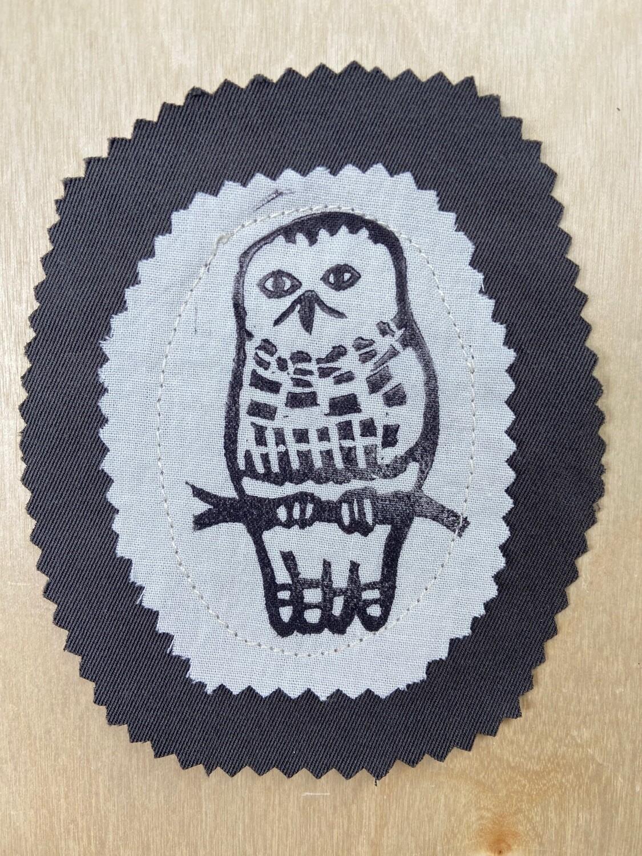 Snowy owl fabric patch