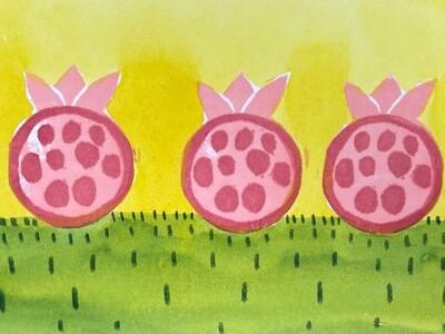 Set of six greeting cards Pomegranates