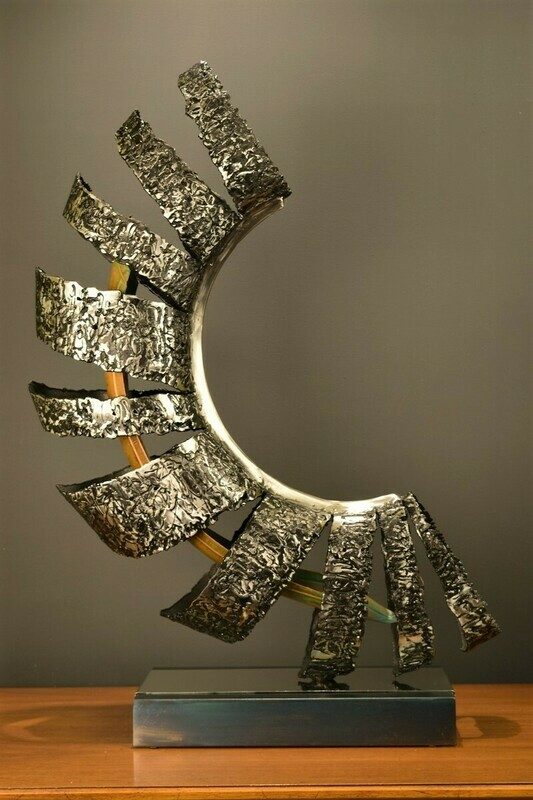 'Morphosis' Modern Abstract Steel Sculpture with Copper