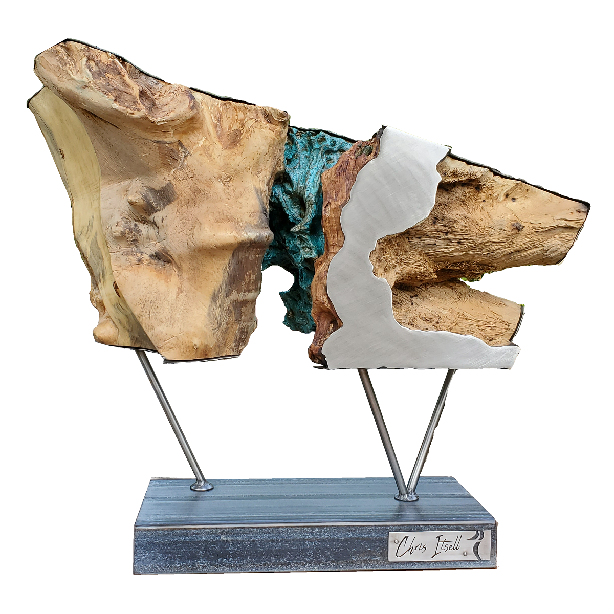 'Ursidae' Abstract Stainless Steel Sculpture with Wood