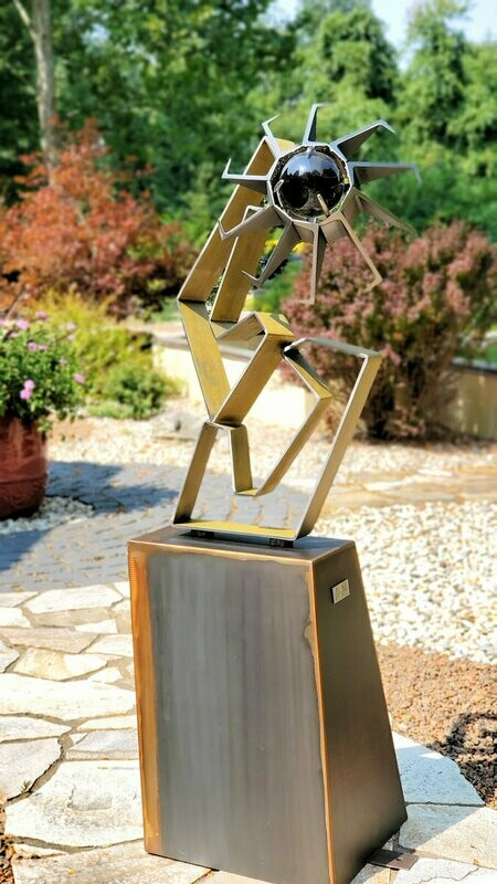 'Dangerous Love' Outdoor Abstract Metal Sculpture with Glass Orb