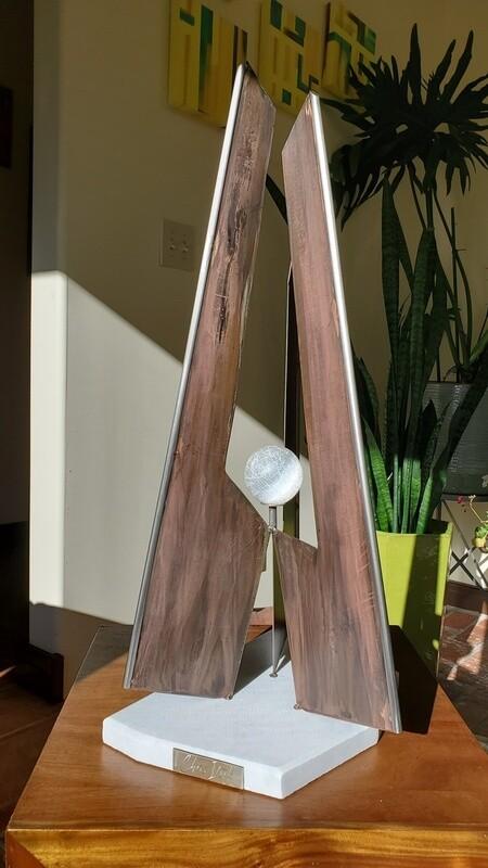 'Triad' Steel Sculpture with Selenite Crystal & Marble