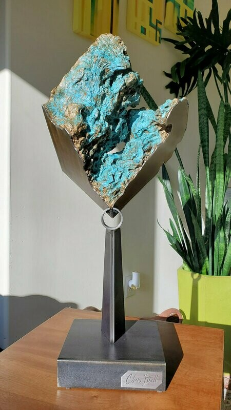 'Basalt' Modern Abstract Stainless Steel Sculpture with Burl Wood