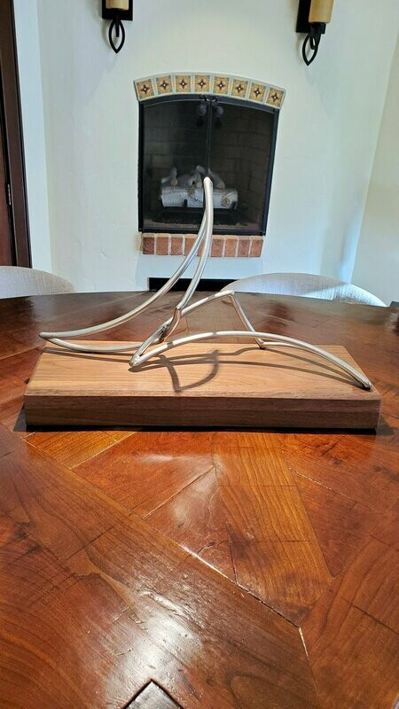 'Current' Stainless Steel Sculpture on Walnut Base