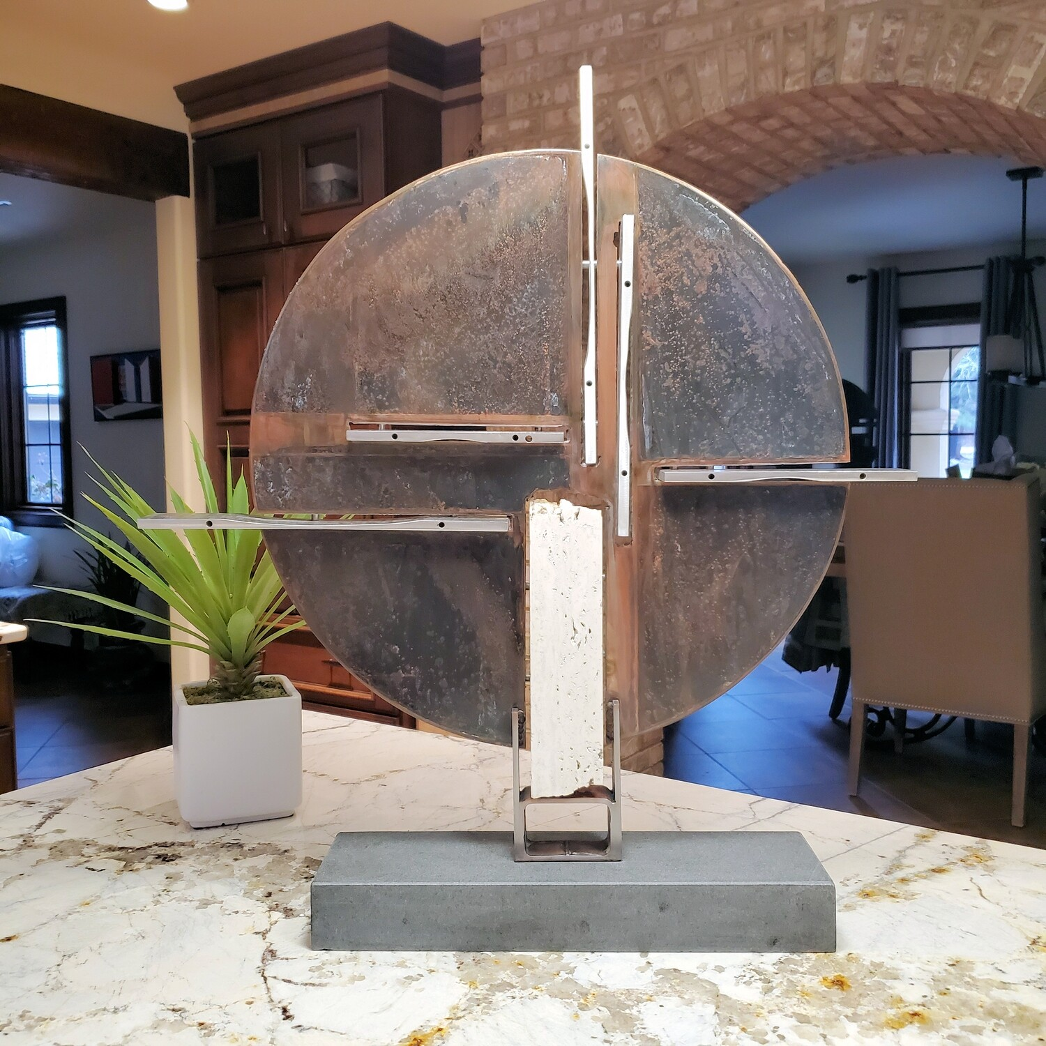 'Moonstruck' Steel, Limestone & Aluminum Metal Abstract Modern Industrial Sculpture