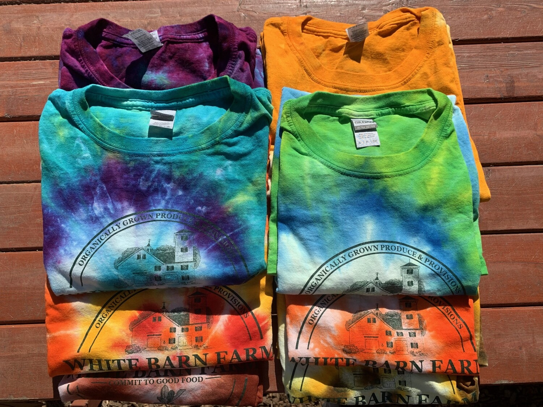 Tie Dye White Barn Farm T Shirt