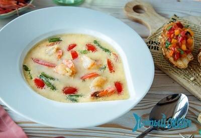 Белый суп с креветками, 250 гр.