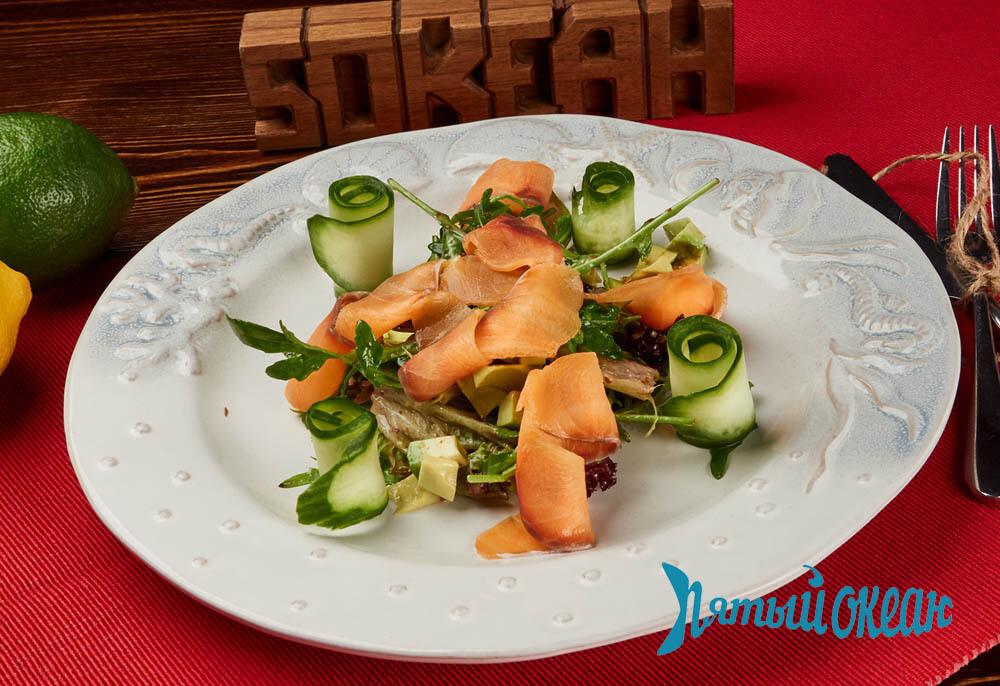 Салат с авокадо и м/с семгой, 160 гр