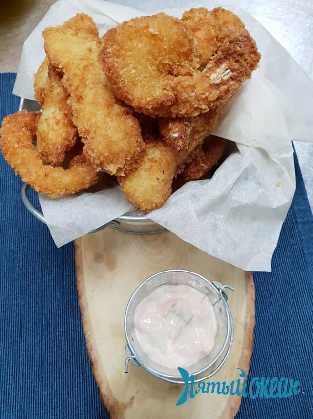 Плато из морепродуктов с хрустящей корочкой, 310 гр.
