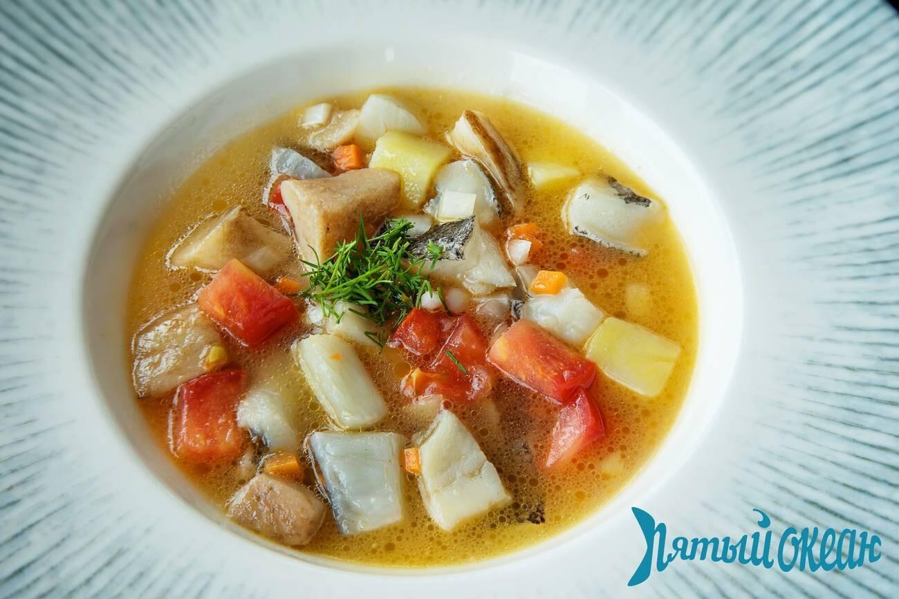 Суп с палтусом и белыми грибами, 250 гр