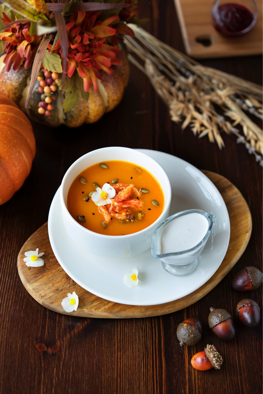 Тыквенный суп с крабом
