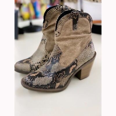 LOLLY BLOWFISH SNAKE PRINT HEELED ANKLE BOOT