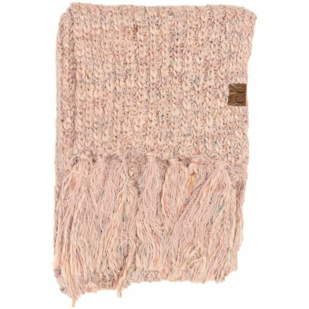 MULTI COLOR FEATHER KNIT SCARF