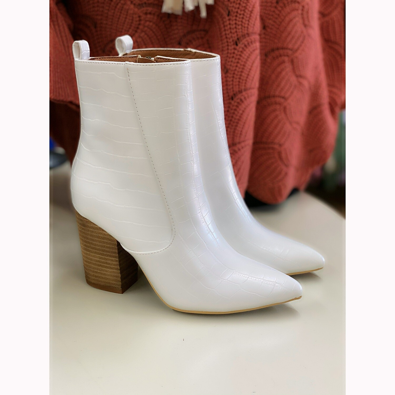 TORY WHITE CROC BOOTIE