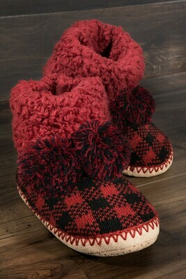 JUST STAY HOME BUFFALO PLAID BOOTIE SLIPPERS