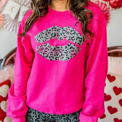 LEOPARD KISS LIPS CREW SWEATSHIRT
