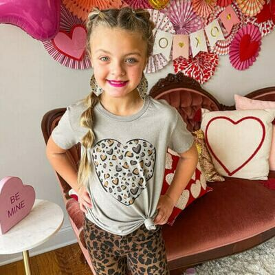 YOUTH LEOPARD PRINT HEART T-SHIRT
