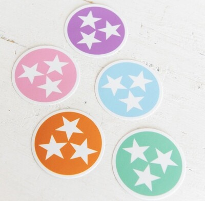 TENNESSEE TRISTAR DECAL WITH WHITE STARS